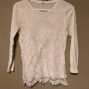 J Crew Crochet White T Shirt